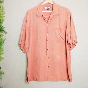🌳 Tommy Bahama Button Front Shirt Orange Silk L